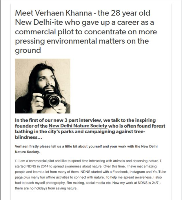 Verhaen Khanna gave up his career to save environment. join ndns ngo cause and save environment