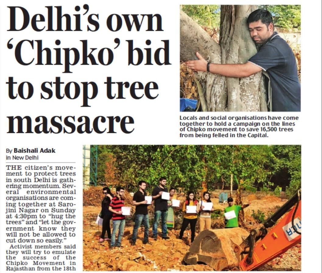 delhi's own chipko movement. protect trees