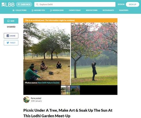Picnic under a tree, make art or soak up the sun at lodhi garden with new delhi nature society