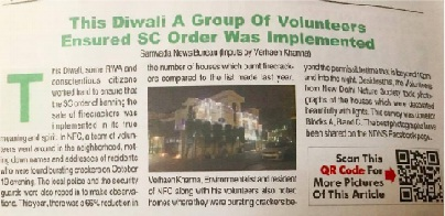 diwali volunteering with ndns ngo to implement sc order ban against cracker in delhi