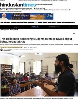 let's make diwali about lights. Awareness program against crackers by Verhaen Khanna, new delhi nature society's founder