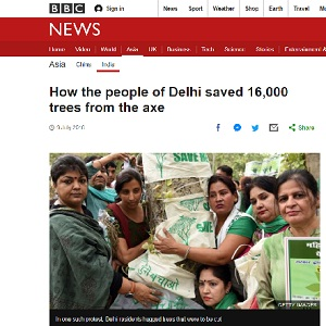 how people saved 16000 trees from the axe. New delhi nature society's awareness program