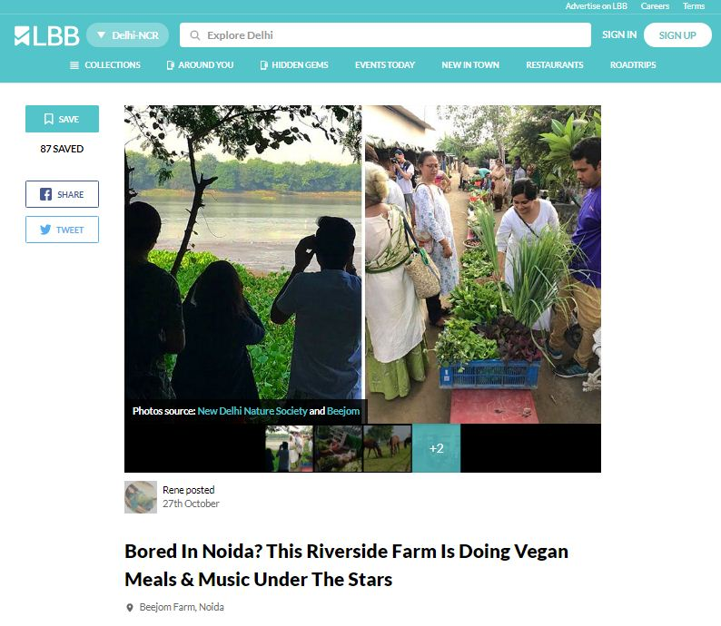 beejom. have a vegan meal & music at riverside in noida with new delhi nature society