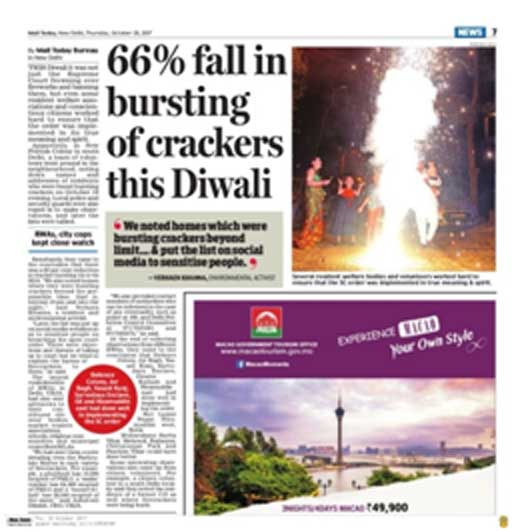 66% fall in bursting of cracker in delhi. save environment and breathe better. Environment awareness program by new delhi nature society