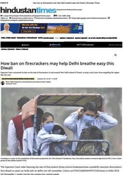 ban on crackers may help delhi breathe easily this diwali. say no to cracker and fight air polllution with new delhi nature society
